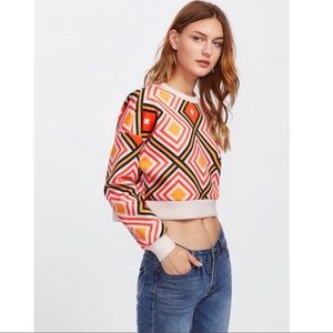 Geo Print Boho Sweatshirt